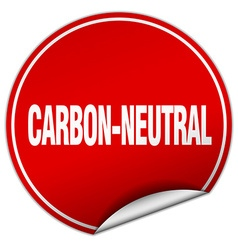 Carbon-neutral round red sticker isolated on white vector