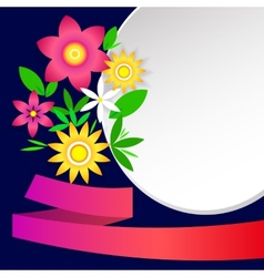 Card with simple flowers frames and ribbon vector image