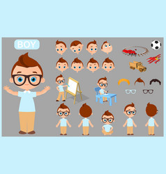 cartoon character boy constructor creation mascot vector image