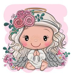 Cartoon christmas angel with flowers vector