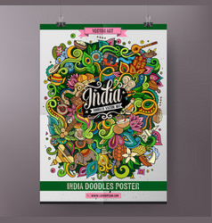 Cartoon colorful hand drawn doodles india poster vector