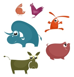 Cartoon funny farm animals vector