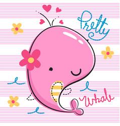 Cartoon pretty whale girl vector