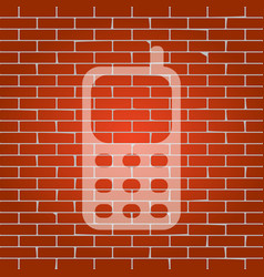 cell phone sign whitish icon on brick vector image