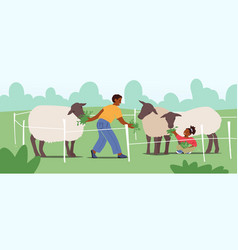 Cheerful kids feed cute sheep in wooden cage vector