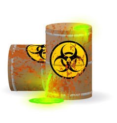Chemical biological waste in a rusty barrel toxic vector