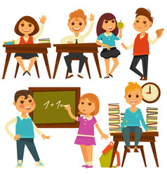 children in school study at lessons flat vector image