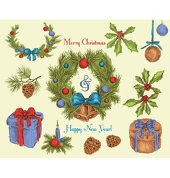Christmas decoration sketch colored vector image