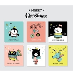 Christmas hand drawn doodles and greeting cards vector