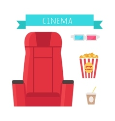 Cinema Objects Set Isolated Movie Entertainment vector