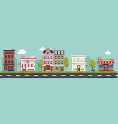 city street and store buildings vector image