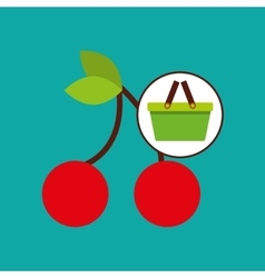Commerce basket tasty cherry vector