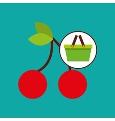 Commerce basket tasty cherry vector