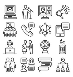 communication icons set on white background vector image