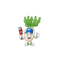 Cool plumber daikon cartoon character mascot vector