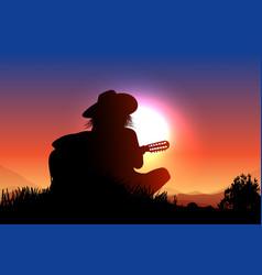 cowboy song at sunset vector image