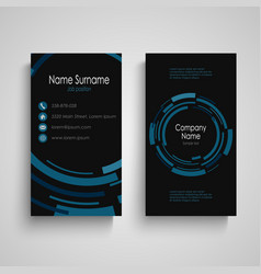 dark business card with abstract technical blue vector image