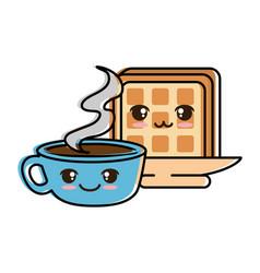 delicious coffee cup with slice bread kawaii vector image
