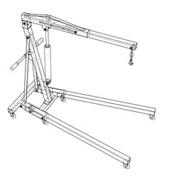 Engine hoist outline rendering of 3d vector