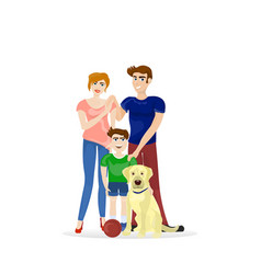 family parents and son with labrador dog isolated vector image