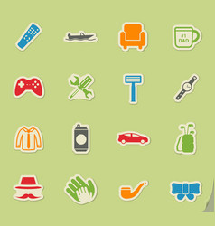 Fathers day simply icons vector