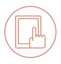 Finger pointing at tablet line icon vector image