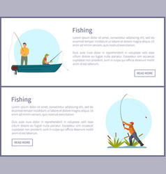 Fishing fisherman with rod on boat and on shore vector