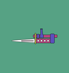 Flat icon design collection knife bayonet on rifle vector