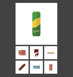 Flat icon food set of spaghetti fizzy drink vector