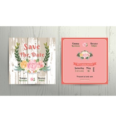 Floral roses wreath save the date wedding vector