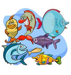funny fish cartoon animal characters group vector image