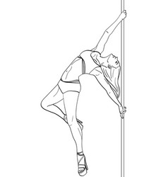Girl is dancing on pole object on white background vector