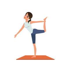 Girl standing in yoga lord of the dance pose or vector