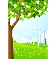 Green Landscape with Wind Power Plant vector image