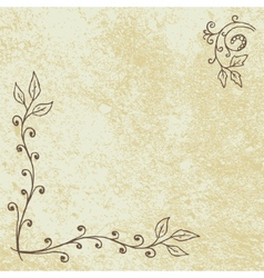 Grunge Floral Background with Empty Space vector image