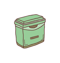 Hand drawn frige container sketch colored vector