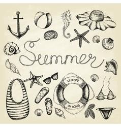 Hand drawn icons summer set vector image