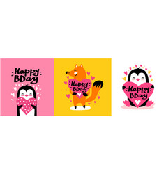 happy birthday cards set vector image