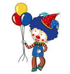 happy clown with colorful balloons vector image