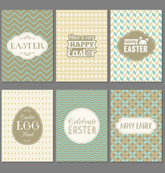 happy easter greeting card set with frame vector image