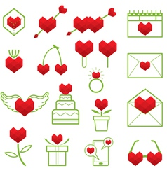 Heart Shape Polygon Love Objects Line Icons Set vector image