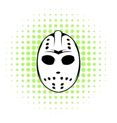 Hockey mask icon comics style vector image