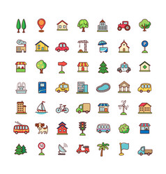 Icons city vector