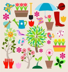 Icons set elements Spring Gardening vector