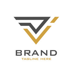 initial logo design dv vector image