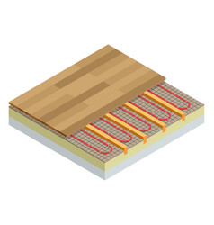 Isometric layers of infrared floor heating system vector