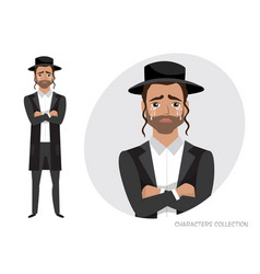 Jew guy crossed his arms and cries vector