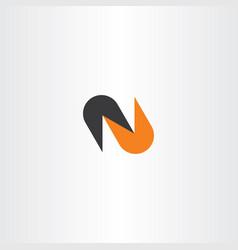 logo n letter black orange logotype vector image