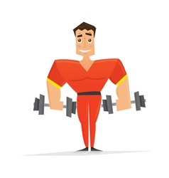 Man in red with dumbbells vector