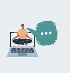 Man meditating on desktop vector